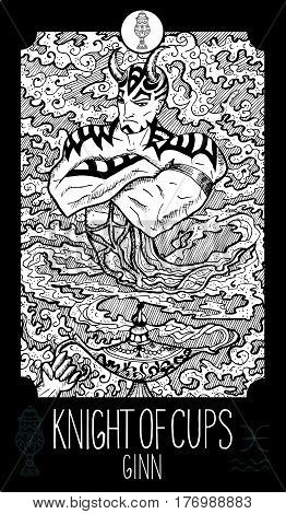 Knight of cups. Ginn. Minor Arcana Tarot card. Fantasy line art illustration. Engraved vector drawing. See all collection in my portfolio set.