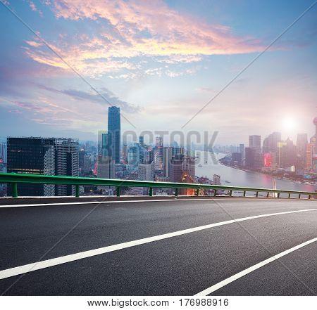 Empty Road Textured Floor With Bird-eye View At Shanghai Bund Skyline