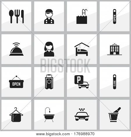 Set Of 16 Editable Plaza Icons. Includes Symbols Such As Auto Stand, Open Sign, Pool. Can Be Used For Web, Mobile, UI And Infographic Design.