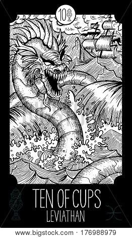 Ten of cups. Leviathan. Minor Arcana Tarot card. Fantasy line art illustration. Engraved vector drawing. See all collection in my portfolio set.