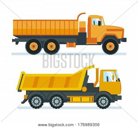 Lorry for transportation of goods and construction materials, heavy volume and weight, delivery, as well as a machine for transporting resources. Vector illustration isolated on white background.