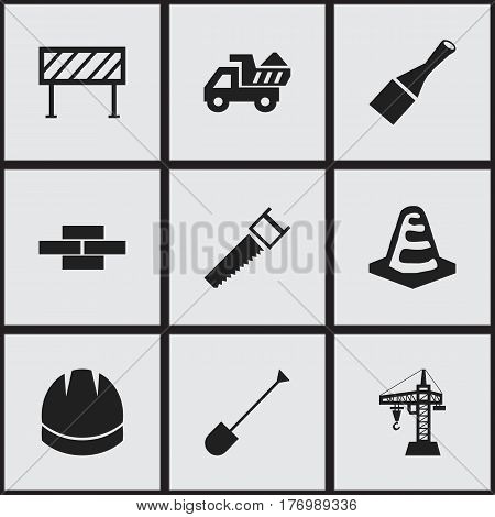 Set Of 9 Editable Structure Icons. Includes Symbols Such As Spade, Hacksaw, Barrier And More. Can Be Used For Web, Mobile, UI And Infographic Design.