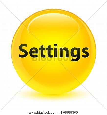 Settings Glassy Yellow Round Button
