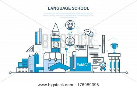 School foreign language learning, modern education and distance learning, communication and learning. Illustration thin line design of vector doodles, infographics elements.
