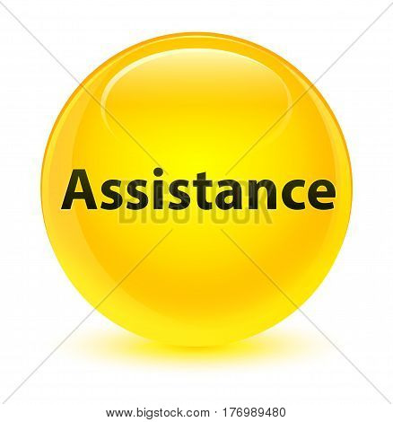 Assistance Glassy Yellow Round Button