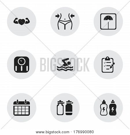Set Of 9 Editable Exercise Icons. Includes Symbols Such As Fitness Drink, Strong Love, Slimming And More. Can Be Used For Web, Mobile, UI And Infographic Design.