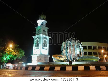 GEORGE TOWN MALAYSIA - 07 DECEMBER 2010 : Night view of Jubilee Clock Tower in George Town Penang Malaysia historical city centre has been listed as a UNESCO World Heritage Site