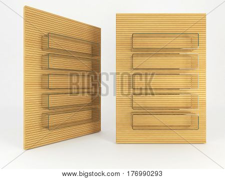 Wood shelve design on white background 3d illustration