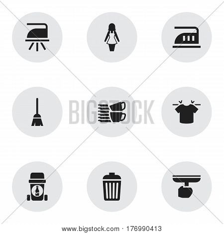 Set Of 9 Editable Cleaning Icons. Includes Symbols Such As Glassware Recycling, Iron, Broomstick And More. Can Be Used For Web, Mobile, UI And Infographic Design.