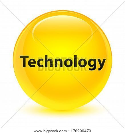 Technology Glassy Yellow Round Button