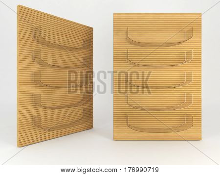Glass shelve design on white background 3d illustration