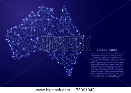 Map of Australia from polygonal blue lines and glowing stars vector illustration