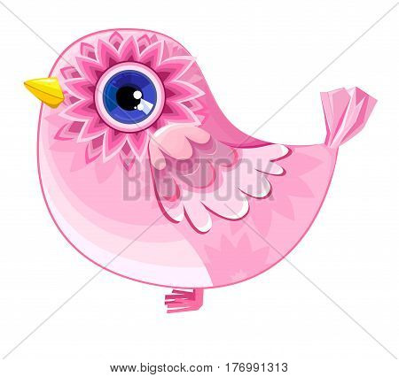 Pink decorative bird, vector illustration bird, bird on a white background