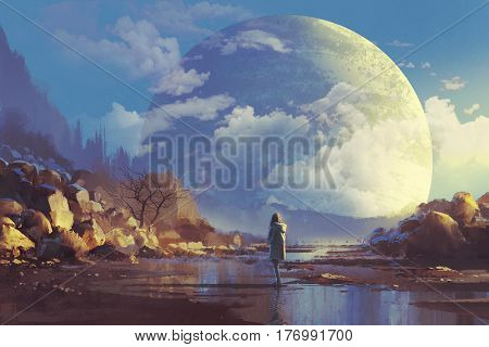 scenery of lonely woman looking at another earth, illustration painting