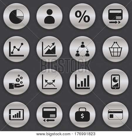 Set Of 16 Editable Logical Icons. Includes Symbols Such As Percent, Credit Card, Money Bag And More. Can Be Used For Web, Mobile, UI And Infographic Design.