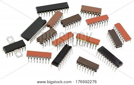 the electronic chips isolated on white background