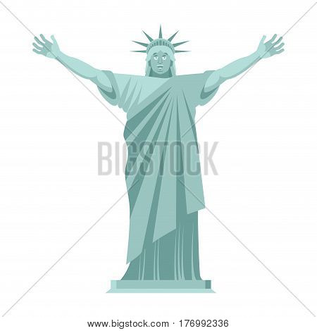 Statue Of Liberty Is Cheerful. Happy Landmark  America. Sculpture Architecture Usa