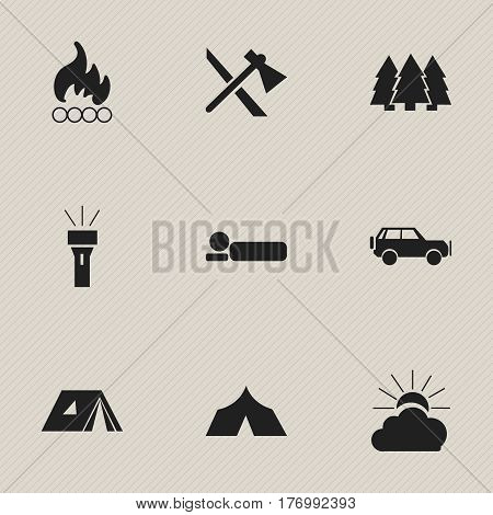 Set Of 9 Editable Camping Icons. Includes Symbols Such As Bedroll, Sport Vehicle, Blaze And More. Can Be Used For Web, Mobile, UI And Infographic Design.