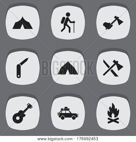 Set Of 9 Editable Camping Icons. Includes Symbols Such As Gait, Fever, Clasp-Knife And More. Can Be Used For Web, Mobile, UI And Infographic Design.