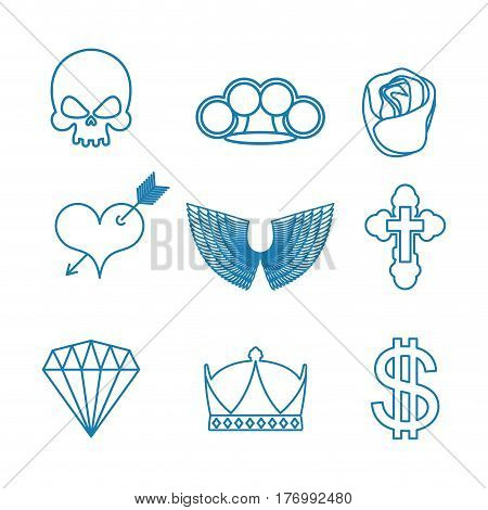 Tattoo set of linear style. Skull and brass knuckles. Rose and heart with an arrow. Wings and cross. Crown and dollar. Diamond