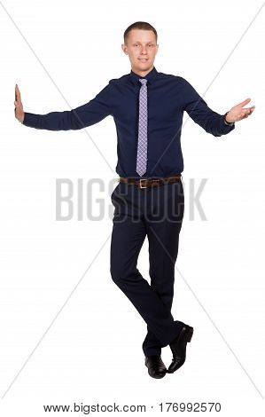 Young businessman explaining something stand in free pose, isolated on white background.