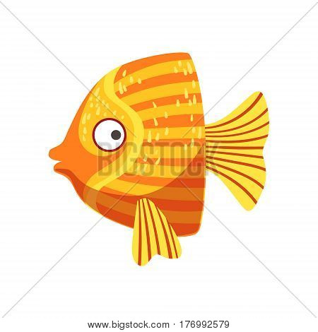 Butterfly Orange And Yellow Fantastic Colorful Aquarium Fish, Tropical Reef Aquatic Animal. Fantasy Underwater Marine Fauna Cartoon Sea Water Fish Isolated Vector Illustration.