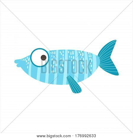 Silly Stripy Blue And Light Blue Fantastic Colorful Aquarium Fish, Tropical Reef Aquatic Animal. Fantasy Underwater Marine Fauna Cartoon Sea Water Fish Isolated Vector Illustration.