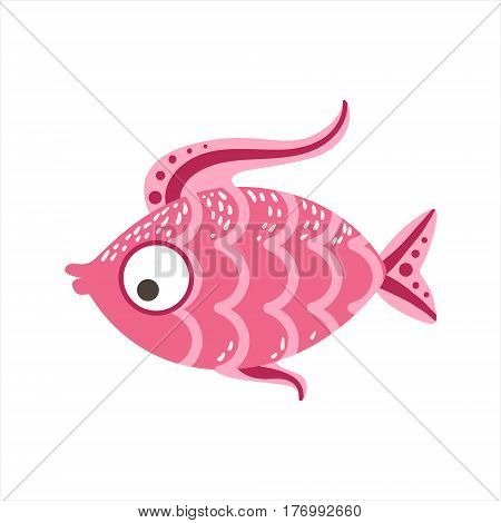 Pink Scaled Fantastic Colorful Aquarium Fish, Tropical Reef Aquatic Animal. Fantasy Underwater Marine Fauna Cartoon Sea Water Fish Isolated Vector Illustration.