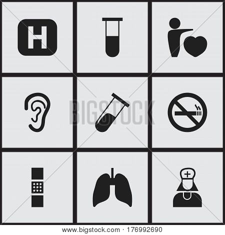 Set Of 9 Editable Clinic Icons. Includes Symbols Such As Wound Band, Respiratory Organ, Listen. Can Be Used For Web, Mobile, UI And Infographic Design.