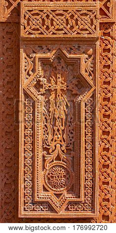 Khachkar-stone Christian cross carved from solid stone.