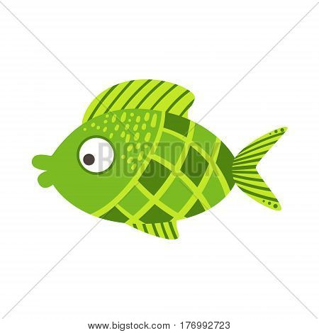 Green Checkered Fantastic Colorful Aquarium Fish, Tropical Reef Aquatic Animal. Fantasy Underwater Marine Fauna Cartoon Sea Water Fish Isolated Vector Illustration.