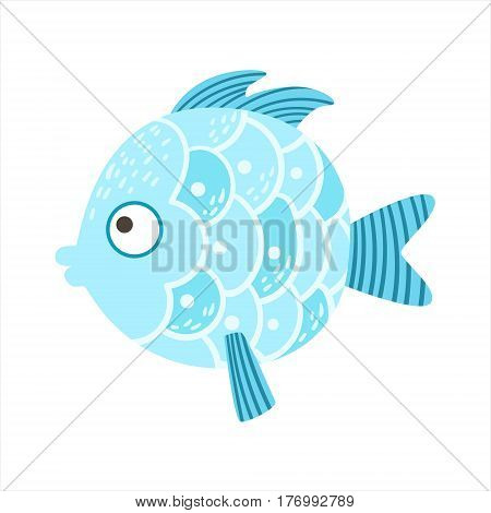 Round Blue Scaled Fantastic Colorful Aquarium Fish, Tropical Reef Aquatic Animal. Fantasy Underwater Marine Fauna Cartoon Sea Water Fish Isolated Vector Illustration.