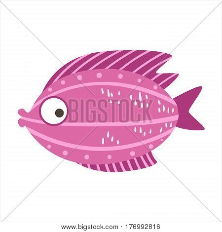 Burgundy And Pink Fantastic Colorful Aquarium Fish, Tropical Reef Aquatic Animal. Fantasy Underwater Marine Fauna Cartoon Sea Water Fish Isolated Vector Illustration.