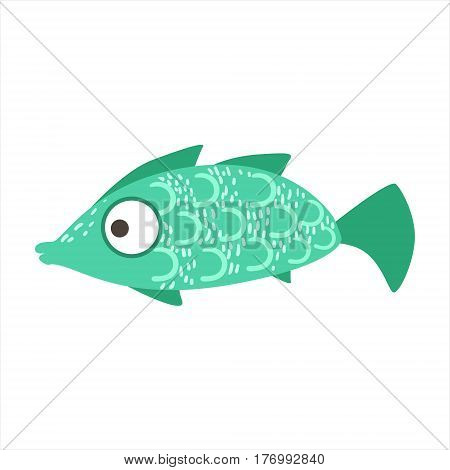 Turquoise And Green Pattern Fantastic Colorful Aquarium Fish, Tropical Reef Aquatic Animal. Fantasy Underwater Marine Fauna Cartoon Sea Water Fish Isolated Vector Illustration.
