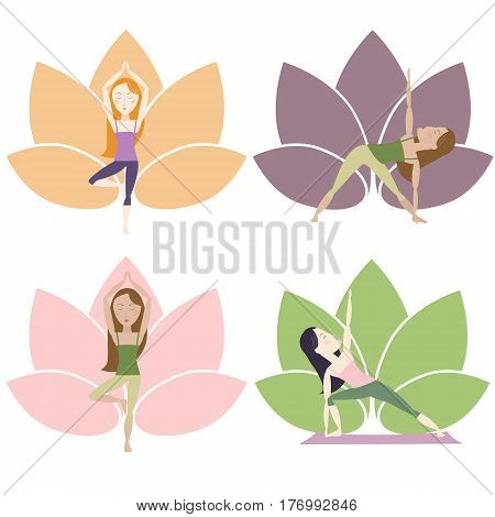 Set of yoga poses. With lotus on the background. Cartoon characters. Vector eps10