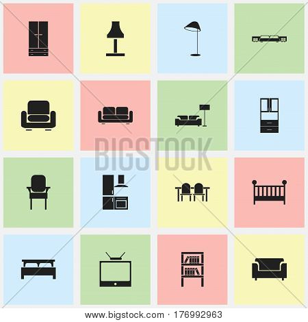 Set Of 16 Editable Furniture Icons. Includes Symbols Such As Couch, Glim, Recliner And More. Can Be Used For Web, Mobile, UI And Infographic Design.