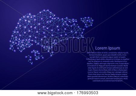 Map of Singapore from polygonal blue lines and glowing stars vector illustration