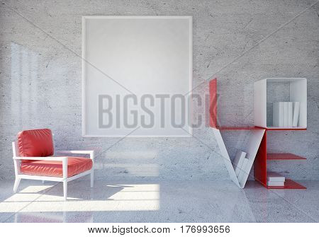 Modern and Loft room interior with word Love book shelf and blank photo frame for Valentine's day, 3D rendering