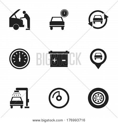 Set Of 9 Editable Vehicle Icons. Includes Symbols Such As Vehicle Wash, Speed Display, Pointer And More. Can Be Used For Web, Mobile, UI And Infographic Design.