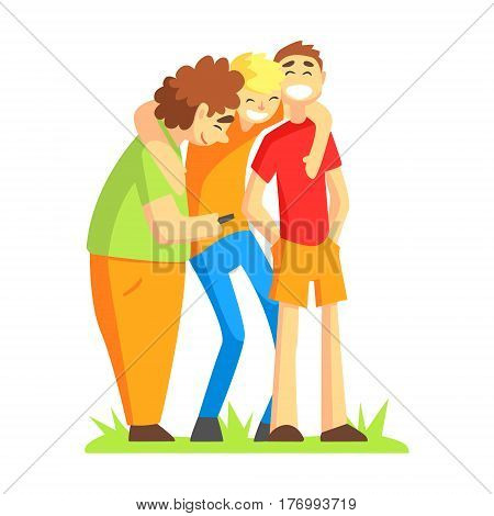 Teenage Friends Watching Something Funny On Smartphone, Part Of Male Friendship Series Of Illustrations. Guys Spending Good Time With Their Best Mates Colorful Cartoon Drawing.