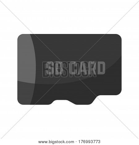 Black SD card device icon isolated on white. Technic equipment for information and film storaging. Vector colorful illustration in flat design of small plane element for phones and computers