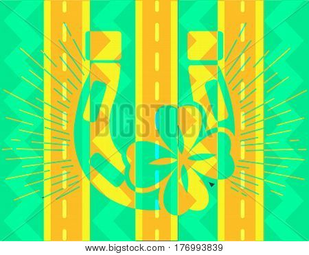 Abstract icon of good luck in the form of a horseshoe and clover on the background of the road