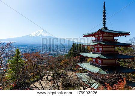 Chureito Pagoda and mountain Fujisan