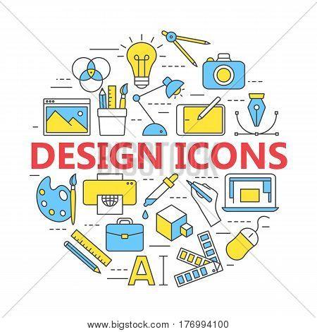 Graphic design icons vector symbols. Printing and graphic design icons in thin outlines.