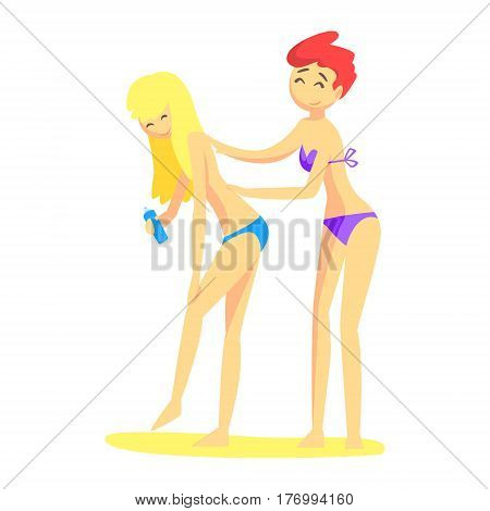 One Girl Helps Another To Apply Sunscreen On The Back, Part Of Friends In Summer On The Beach Series Of Vector Illustrations. Young People In Swimsuits Cartoon Characters Having Seaside Vacation.