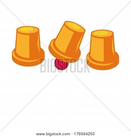 Shell game template with three golden thimbles and red small ball inside one element on white. Vector colorful flat illustration of playing items. Gambling concept with necessary equipments icon