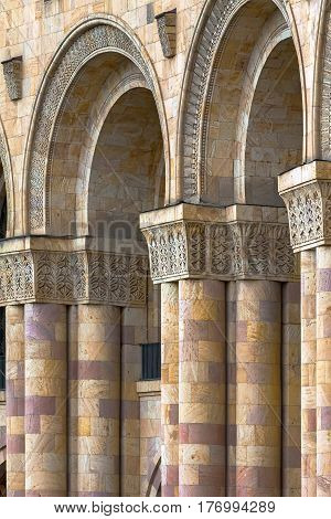 Close-up of the architectural columns of stone Tufa stone carving. Armenia Yerevan.