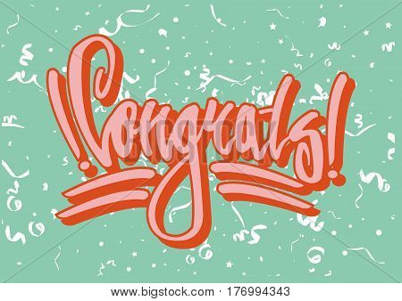 Congratulation street style graffiti on green background with white serpentine. Street art vector illustration. Sign in unusual font made with paint spray on wall. Extraordinary way to congratulate.