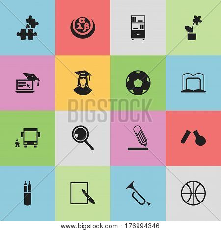 Set Of 16 Editable School Icons. Includes Symbols Such As Basket Play, Greek Alphabet, Pen Case And More. Can Be Used For Web, Mobile, UI And Infographic Design.