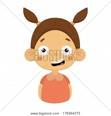 Puzzled Little Girl Flat Cartoon Portrait Emoji Icon With Emotional Facial Expression. Cute Kid Cartoon Character Emoticon Vector Illustration Isolated On White Background.